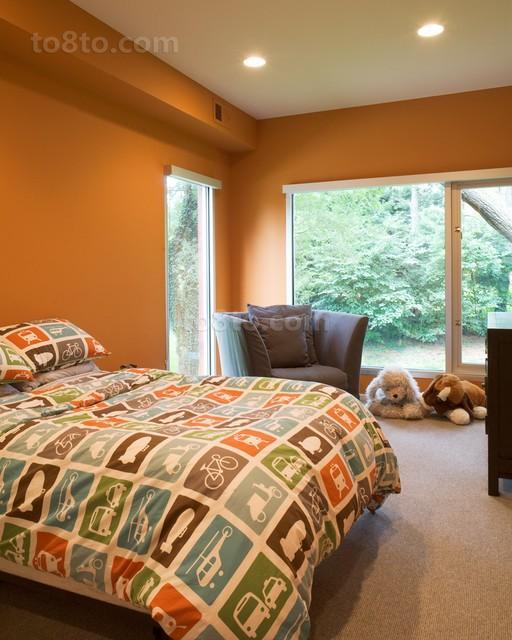 小户型卧室装修效果图 橙色温暖你我