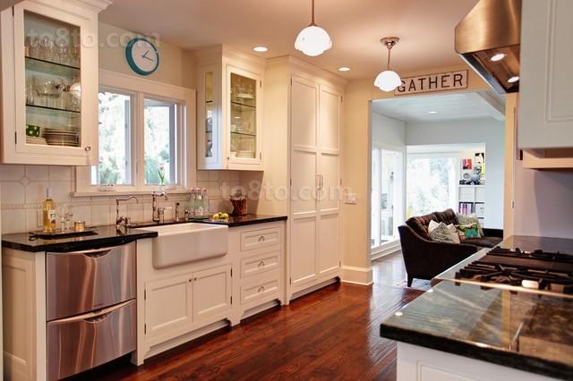 三室两厅厨房橱柜装修效果图大全2014