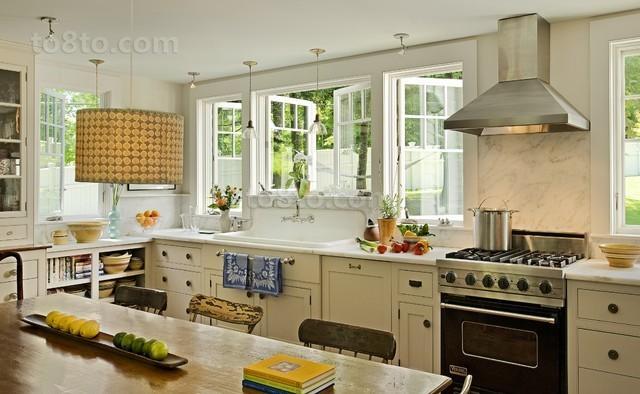 欧式清新厨房装修设计效果图大全2012