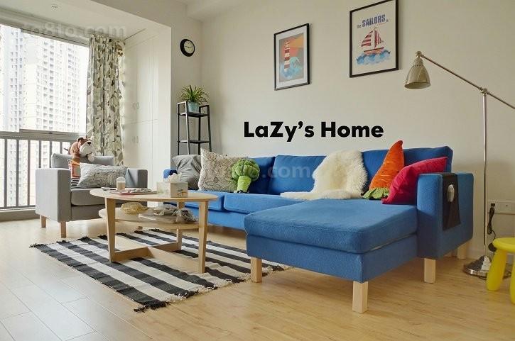 小户型客厅蓝色沙发图片