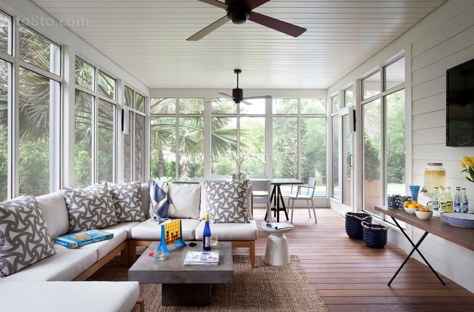 6万打造79平米美式田园客厅飘窗装修