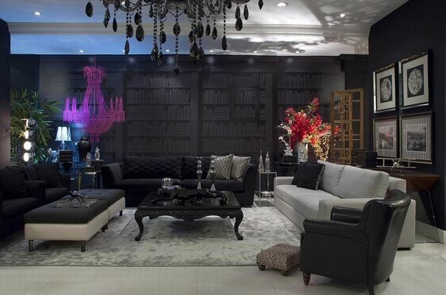 七万打造奢华后现代简约风格客厅背景墙装修效果图