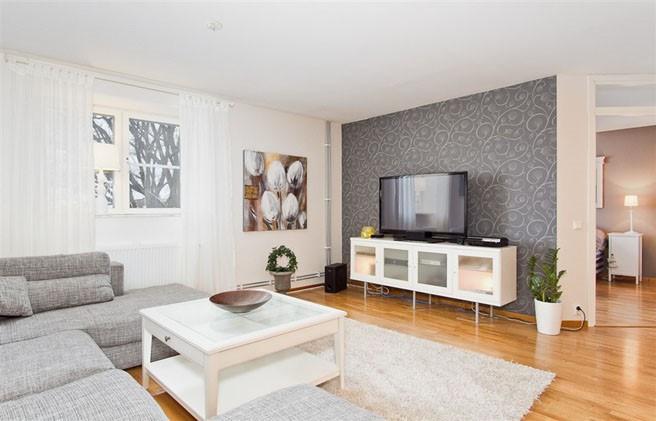 69平米小户型瑞典北欧单身公寓客厅电视背景墙装修效果图大全201