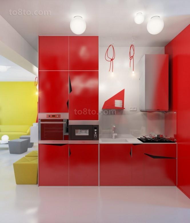 90平小户型现代婚房喜庆的厨房装修效果图大全2012图片
