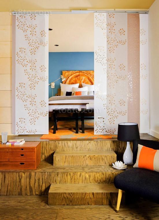 8万打造二居地中海风格卧室窗帘装修图