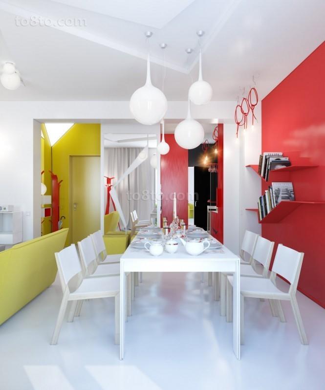90平小户型现代婚房餐厅装修效果图大全2013图片