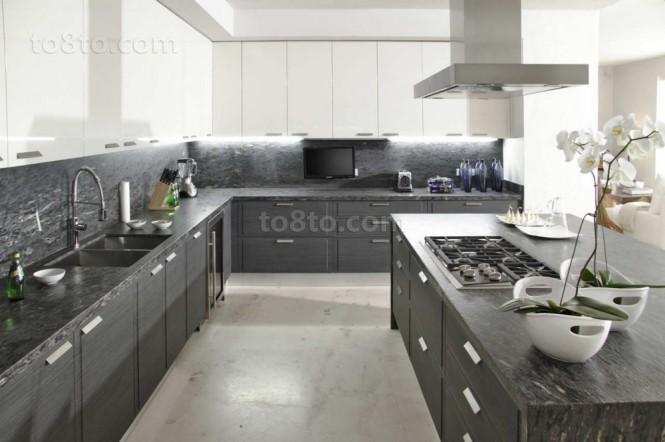 海滨欧式别墅图片大全 现代时尚厨房橱柜装修效果图大全2012图片