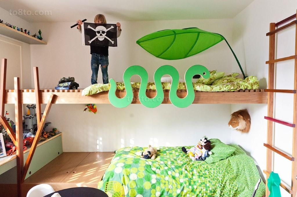 美式别墅温馨男孩儿童房装修效果图大全2014图片