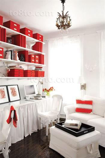 红白色调的书房书架吊顶装修设计效果图