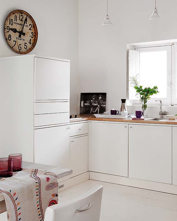 45平米小户型白色简洁厨房橱柜装修效果图大全2014图片