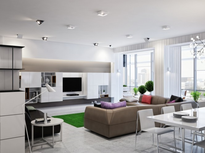 300平米的乌克兰现代别墅客厅电视背景墙装修效果图欣赏