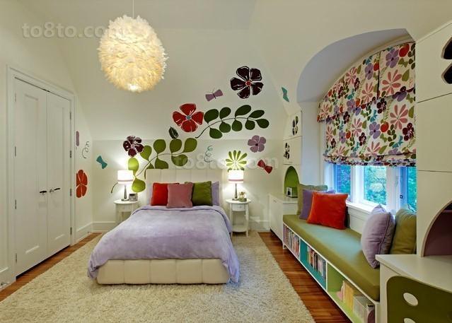 15平女孩儿童卧室背景墙装修效果图