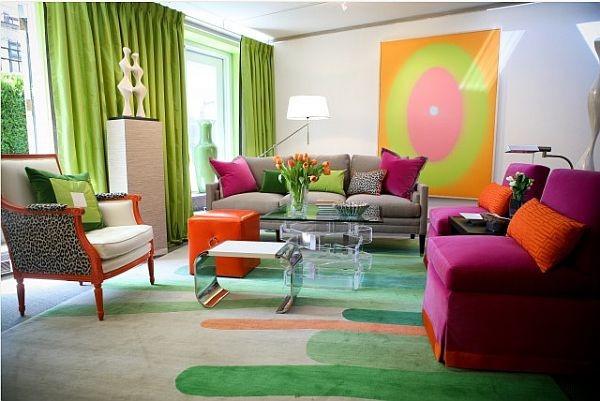 饱和明艳的色彩打造现代风格客厅窗帘装修效果图大全2012图片