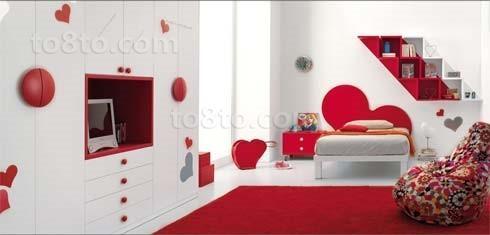 红色婚房中喜庆的儿童房装修效果图
