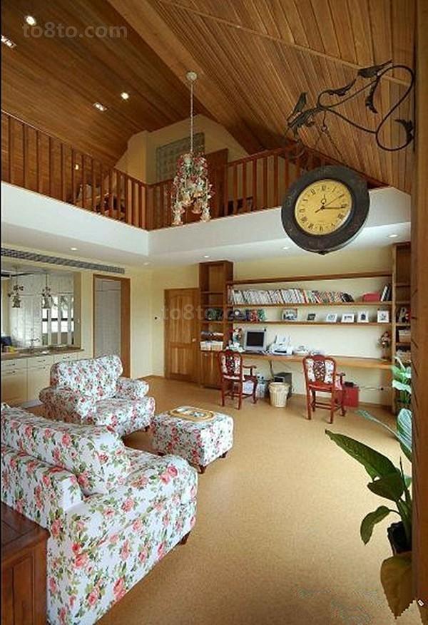 美式田园客厅碎花沙发效果图