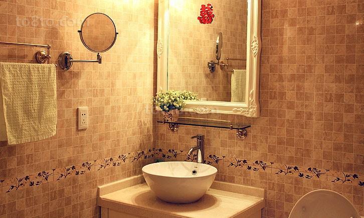 90平米现代田园卫生间瓷砖装修效果图