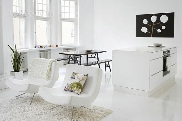 超简约风客餐厅一体化装修 白色单人沙发图片