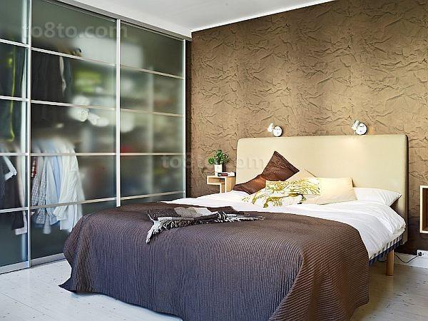 小户型卧室棕色卧室装修效果图大全2014图片