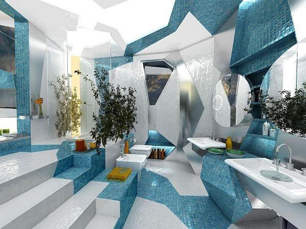 20平时尚创意蓝色卫生间装修效果图大全2014图片
