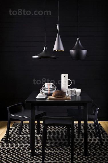 纯黑色简约餐厅吊顶装修效果图