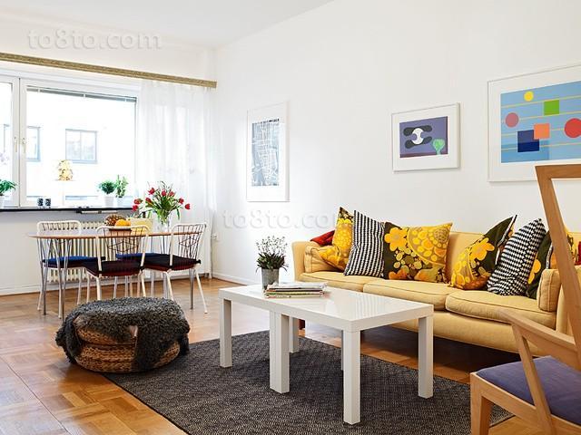 54平公寓欧式风格客厅背景墙装修效果图大全2013图片