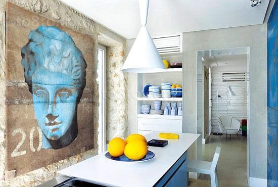 二室一厅文艺油画餐厅背景墙装修效果图