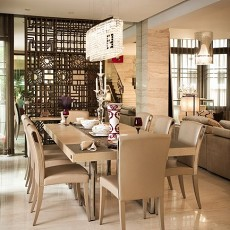 112平米中式别墅餐厅装修实景图