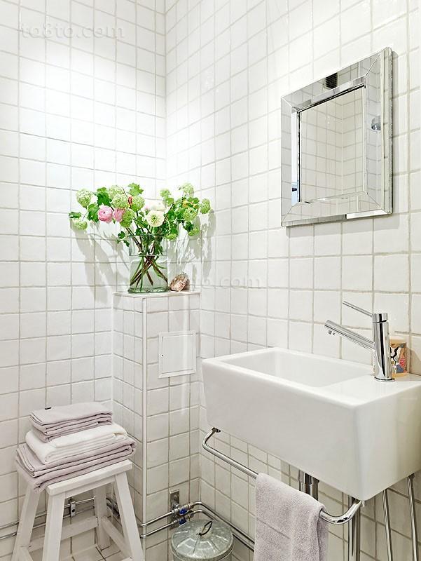 70平单身公寓卫生间瓷砖效果图大全2014图片