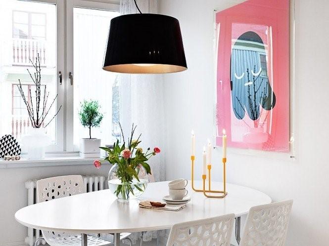 瑞典时尚三室两厅清新的餐厅吊顶装修效果图