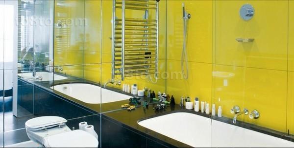 复式楼黄色瓷砖打造卫生间效果图