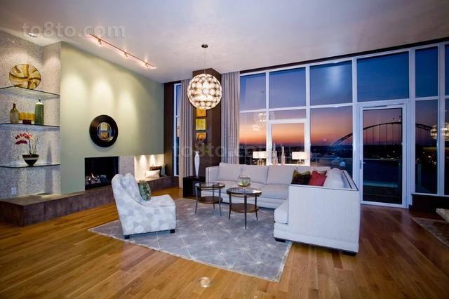 89平现代简约风格客厅装修效果图大全2013图片