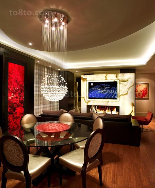 现代风格二居餐厅吊顶灯装修效果图