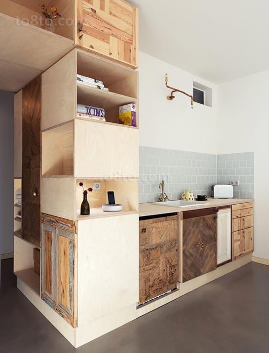80平小户型时尚创意现代厨房橱柜装修效果图大全2014图片