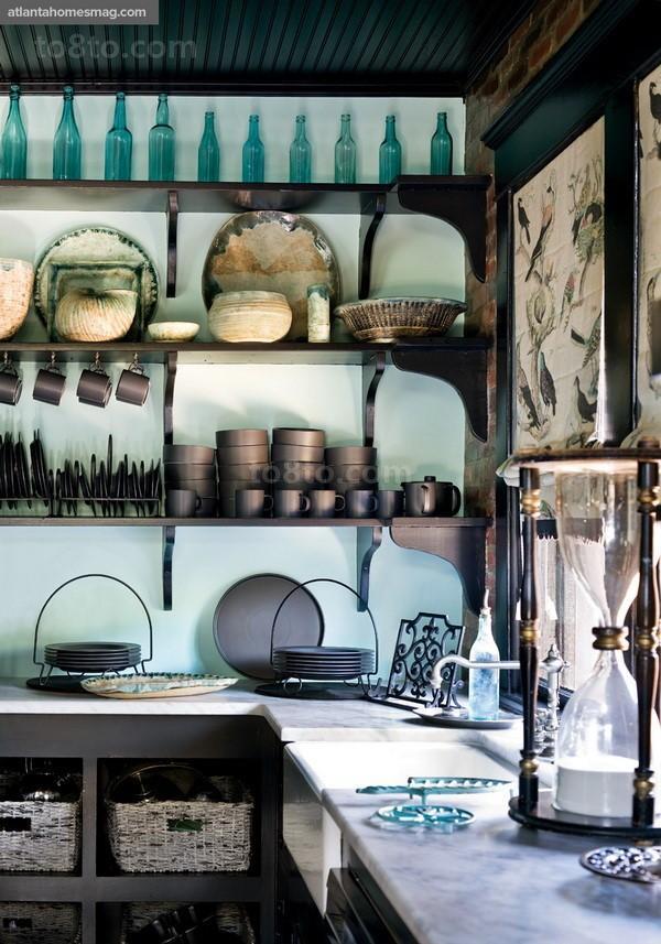 乡村别墅美式家庭厨房橱柜装修效果图大全2014图片