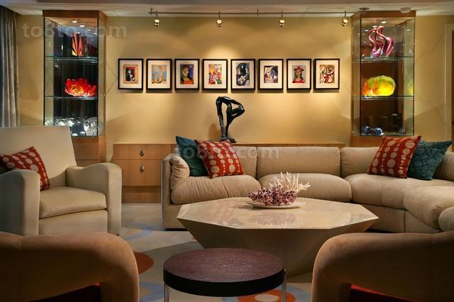 6万打造现代风格客厅二居装修效果图大全2014图片
