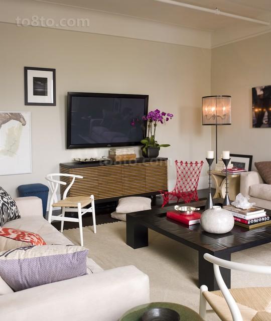 2013最新小户型简约客厅电视背景墙装修效果图