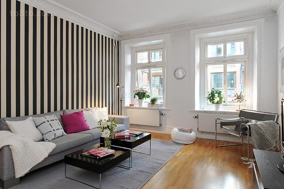 客厅黑白竖条纹壁纸贴图