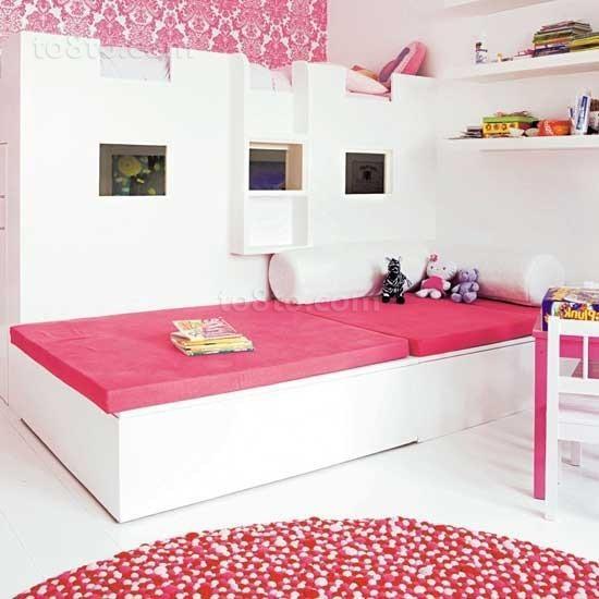 粉色系甜美儿童卧室装修效果图