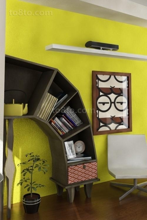 后现代风格书房书柜装修效果图