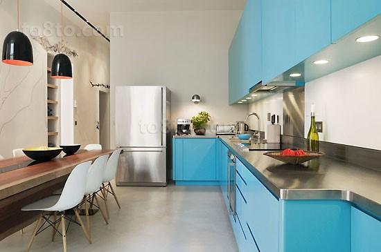 小复式蓝色清新的厨房橱柜装修效果图大全2014图片