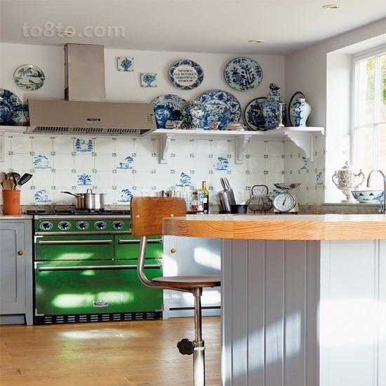 小户型田园风格厨房装修效果图大全2014图片