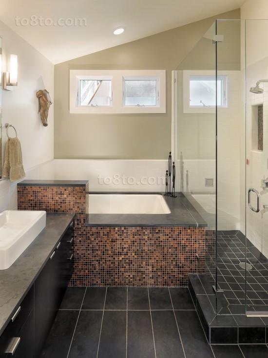 复式楼马赛克瓷砖卫生间装修效果图大全2014图片