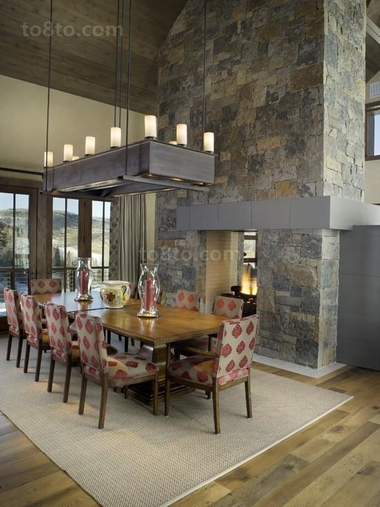 现代别墅餐厅吊顶装修效果图