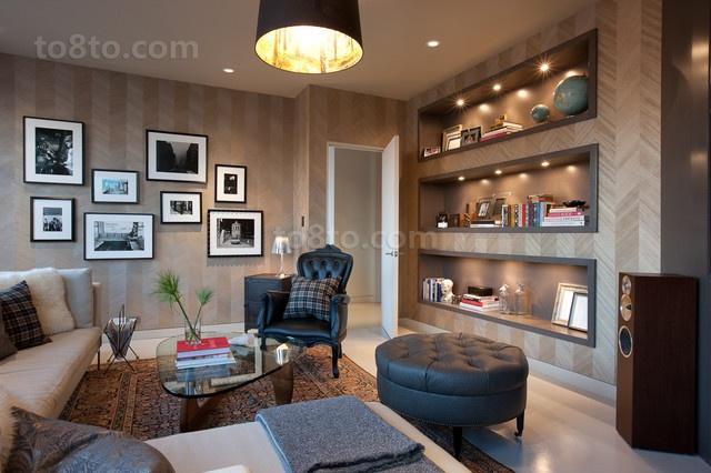 现代简约风格客厅背景墙装修效果图大全2014图片