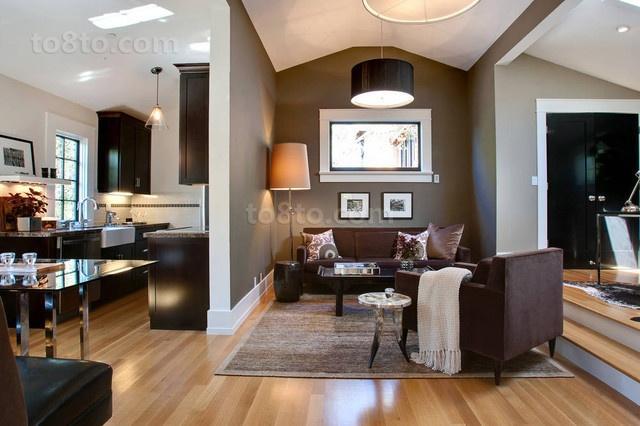 复式楼咖啡色调的客厅装修效果图大全2014图片