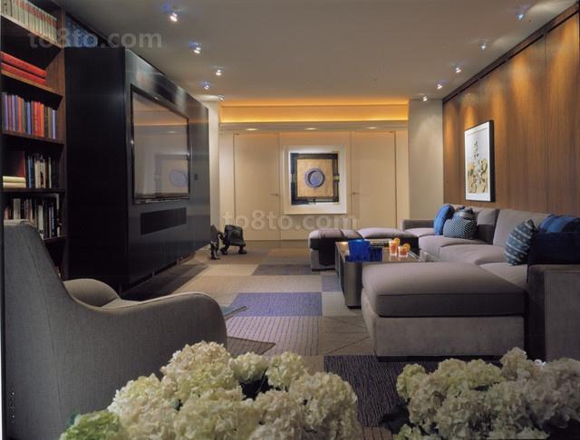 现代风格客厅吊顶二居装修效果图大全2014图片