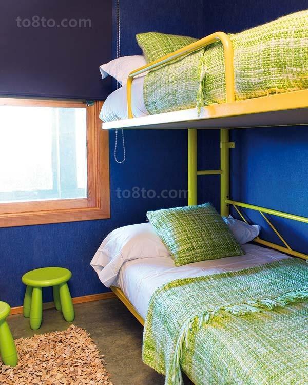 田园风格小儿童房双层床图片