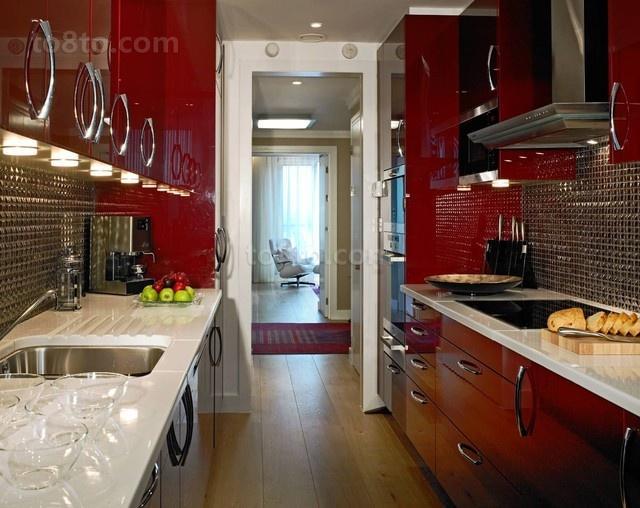 12万打造小户型浪漫婚房 厨房橱柜装修效果图