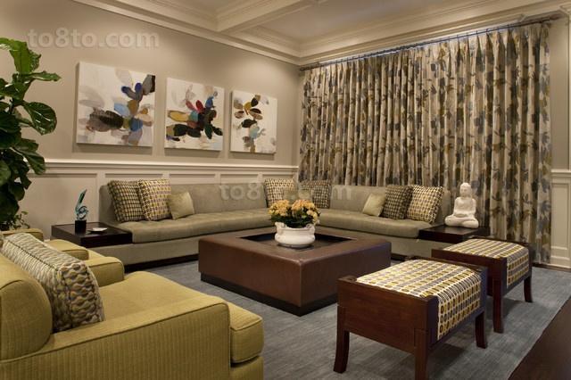 最新欧式简约风格客厅窗帘装修效果图