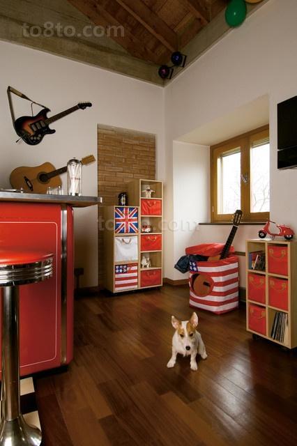 时尚两室一厅美式风格客厅装修效果图大全2014图片